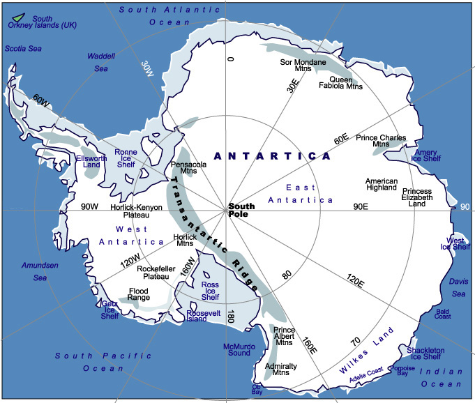 Map of Messner Route in Antarctica, South Pole Map